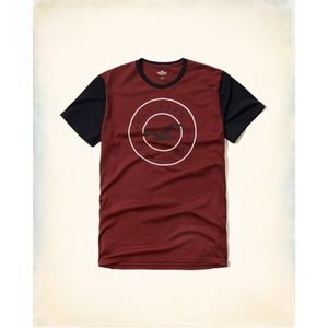 Hollister Co. Color Block Maroon Logo Graphic Tee